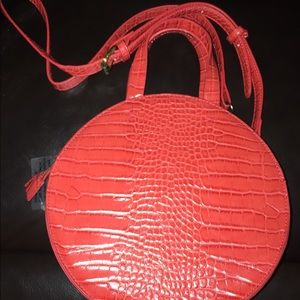 Anthropologie Red Faux Crocodile Print Handbag